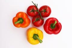 Dzwonkowi pieprze i pomidory na winogradzie 2 Zdjęcie Royalty Free