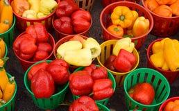 Dzwonkowi pieprze i zucchini przy średniorolnym ` s wprowadzać na rynek Zdjęcia Royalty Free