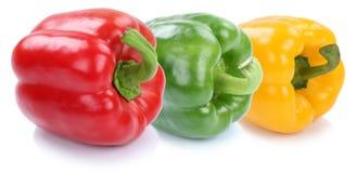 Dzwonkowy pieprz pieprzy inkasowego papryki świeżego warzywa z rzędu Obrazy Royalty Free