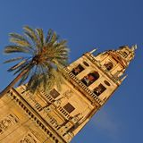 Dzwonkowy wierza i poprzedni minaret Mezquita, Catedral De Cordoba fotografia stock
