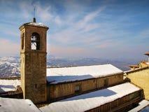 Dzwonkowy wierza kościół i klasztor Capuchin ojcowie, San Marino zdjęcie royalty free