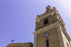 Dzwonkowy wierza kościół w starym miasteczku Relleu w Hiszpania obraz stock