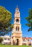 Dzwonkowy wierza kościół w wiosce Pilon (Pylonas) Fotografia Stock