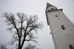 Dzwonnica Stary Luterański kościół St Berthold w Sigulda, Latvia zdjęcie royalty free