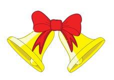 dzwony kłaniają się złotą czerwień dwa royalty ilustracja