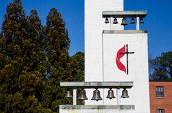 Dzwony na kościół metodystów fotografia stock