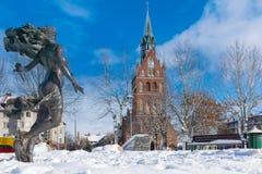 Ełk City Center. Winter in the center of Elk town. Masuria, Poland Royalty Free Stock Photos