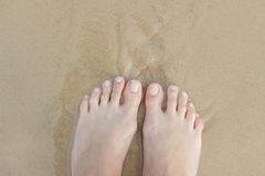 Żeńscy cieki w piasku zdjęcia royalty free