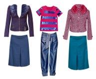 Żeńscy mod ubrania ustawiający Kobiety odzieży kolaż Obrazy Royalty Free