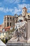 Żeńska alegoryczna postać z Carmo klasztorem przy tłem Obraz Royalty Free