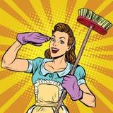 Żeńska cleaner cleaning firmy wystrzału sztuka retro ilustracji