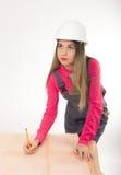 Żeńska cywilnego inżyniera pozycja obok stołu Zdjęcie Royalty Free