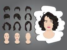 Żeńska fryzury brunetka ilustracja wektor