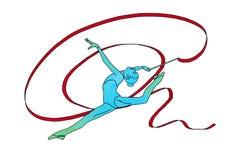 Żeńska gimnastyczka z taśmą na białym tle ilustracji