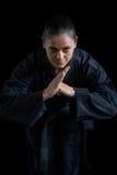 Żeńska karate gracza spełniania karate postawa zdjęcie royalty free