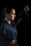 Żeńska karate gracza spełniania karate postawa obrazy stock