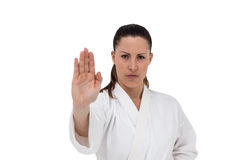 Żeńska myśliwska spełnianie karate postawa zdjęcie stock