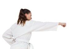 Żeńska myśliwska spełnianie karate postawa obraz stock