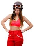 Żeńska narciarka z rękami na biodrach Zdjęcia Royalty Free