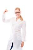 Żeńska naukowiec pozycja i napinać bicepsy obraz stock