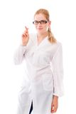Żeńska naukowiec pozycja z jej palcami krzyżującymi zdjęcie royalty free