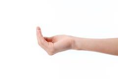 Żeńska ręka szeroko rozpościerać strona z przegiętymi rękami odizolowywać na białym tle zdjęcie royalty free