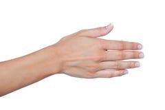 Żeńska ręka z pięknymi gwoździami przedłużyć witać zdjęcie royalty free