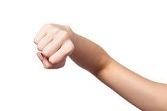 Żeńska ręka z zaciskającą pięścią odizolowywającą Zdjęcia Stock