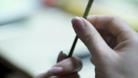 Żeńska ręki kwiaciarnia przekręcał zielonego trzon dla sztucznego bukieta zdjęcie wideo