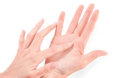 Żeńska ręki macania ręka Zdjęcia Stock
