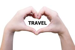 Żeńska ręki miłości podróż Fotografia Stock