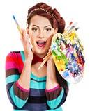 Żeński artysta przy pracą. Fotografia Royalty Free
