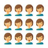 Żeński avatar wyrażenia set Zdjęcia Royalty Free