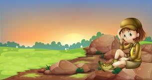 Żeński badacz relaksuje nad skała ilustracji