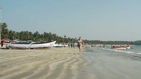 Żeński bieg na plaży zbiory