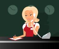 Żeński blond receptioonist bierze wezwanie w royalty ilustracja