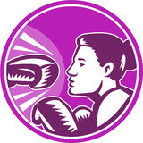 Żeński boksera poncz Retro Fotografia Royalty Free