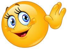 Żeński emoticon falowanie cześć ilustracja wektor
