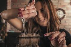 Żeński fryzjer fryzury włosy mężczyzna zdjęcia royalty free
