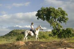 Żeński horseback jeździec i końska przejażdżka przegapia Lewa przyrody Conservancy w Północnym Kenja, Afryka Fotografia Royalty Free