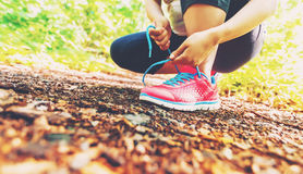 Żeński jogger wiąże jej buty w drewnach obrazy royalty free