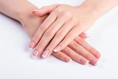 Żeński klasyczny manicure zdjęcia royalty free