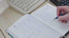 Żeński księgowy bierze notatki zbiory wideo