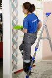 Żeński malarz dekoruje ścianę, wykonuje zadanie Fotografia Stock