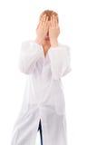 Żeński naukowiec zakrywa jej twarz z ona ręki zdjęcie royalty free
