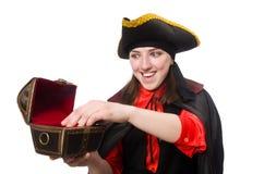 Żeński pirat w czarnym żakieta mienia skarbie Zdjęcia Stock