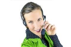 Żeński poparcie telefonu operator Fotografia Royalty Free