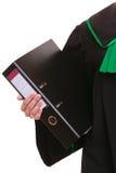Żeński prawnika adwokat jest ubranym klasyczną połysku czerni zieleni togę Zdjęcie Stock