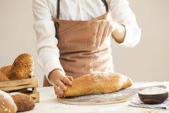 Żeński ręka świeżo piec chleb Zdjęcie Stock