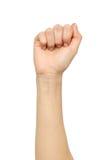 Żeński ręka seansu krzywda pięści gest Zdjęcie Stock